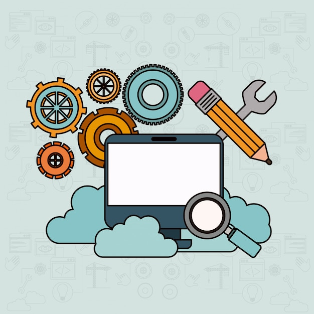 Background with desktop computer and search tools cloud service Premium Vector