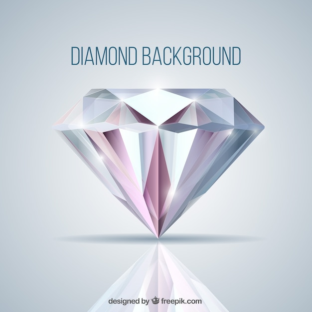 Background with diamond in realistic style Free Vector