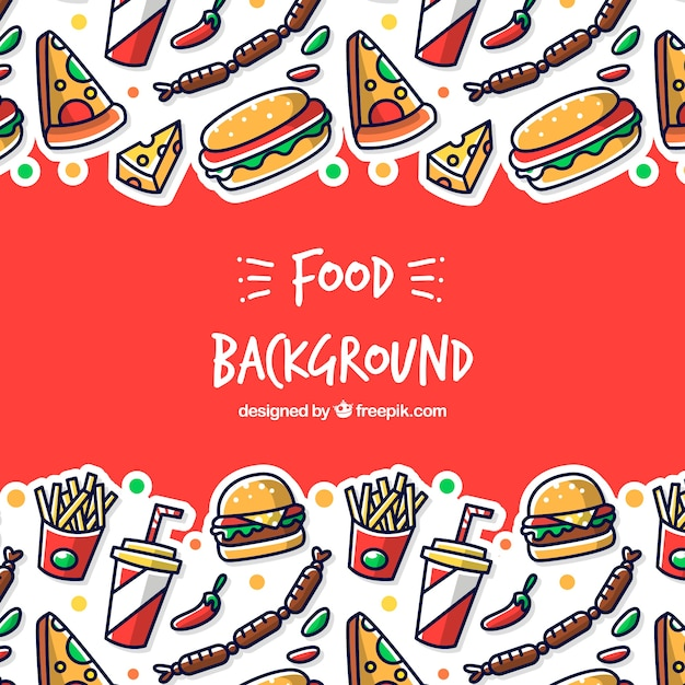 Background with different fast food Free Vector