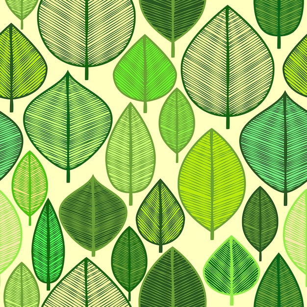 Background with different green leaves Free Vector