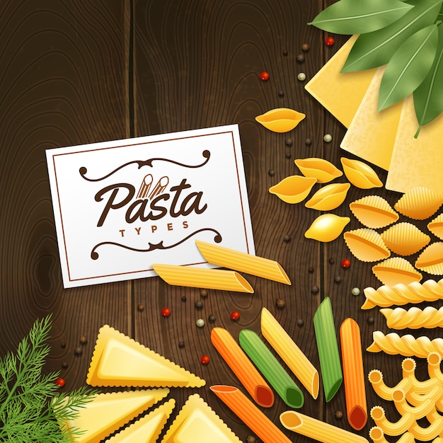 Background with different kinds of pasta with green and spices on wooden table vector illustration Free Vector