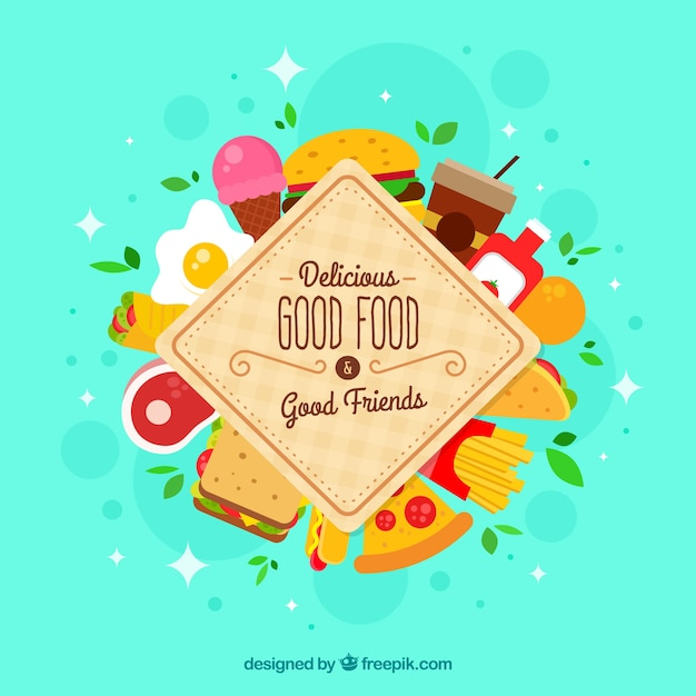 Background with different meals Free Vector