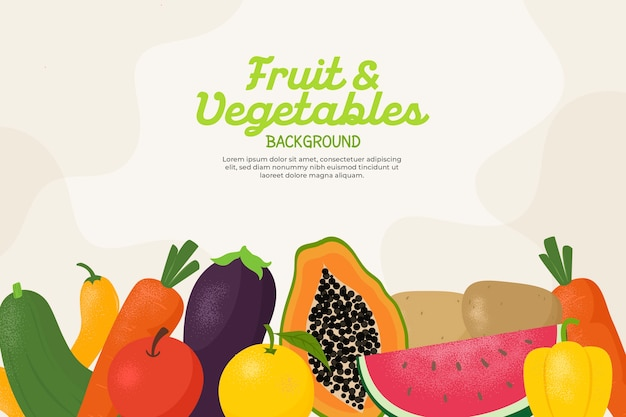 Фон с разными овощами и фруктами Бесплатные векторы