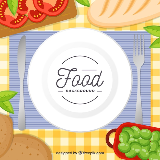 Background with dish and food in top view Free Vector