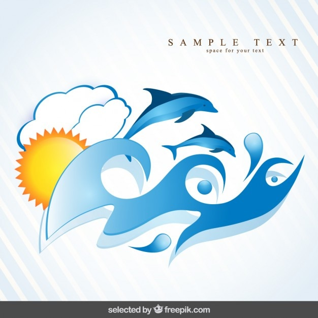Background with dolphins swimming in waves Free Vector