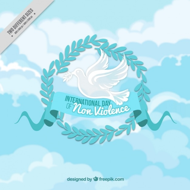 background with dove holding an olive branch free vector