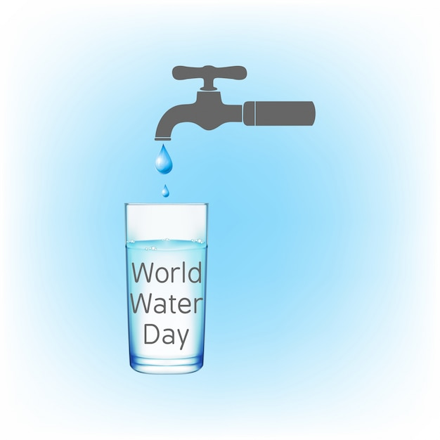 Background with a dripping faucet for the world water day Free Vector