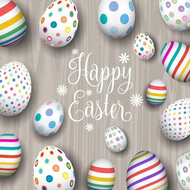 Background with easter eggs on wood Free Vector
