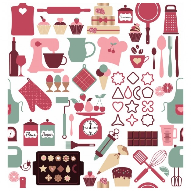 Background with elements of the bakery Free Vector