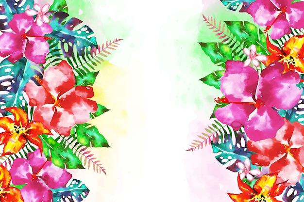 Фон с экзотическими цветами Бесплатные векторы