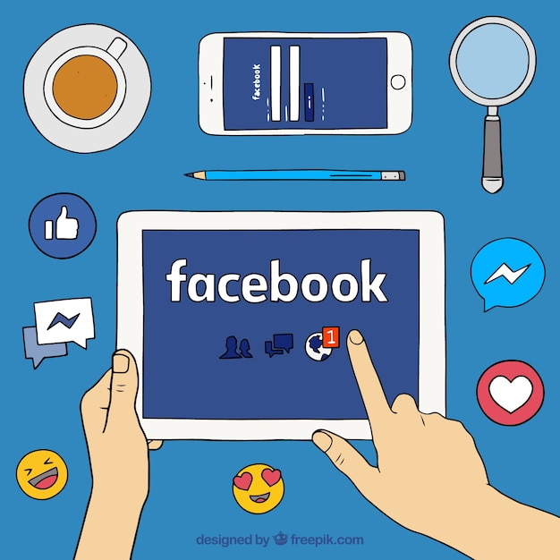 Background with facebook and other elements Free Vector