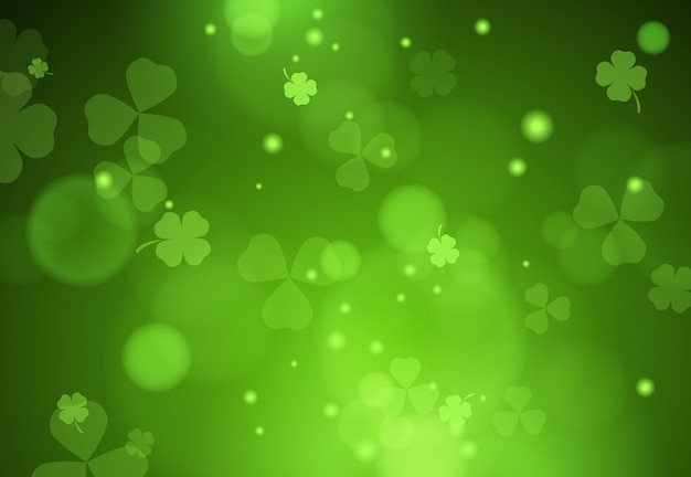 Background with falling clover leaves Free Vector