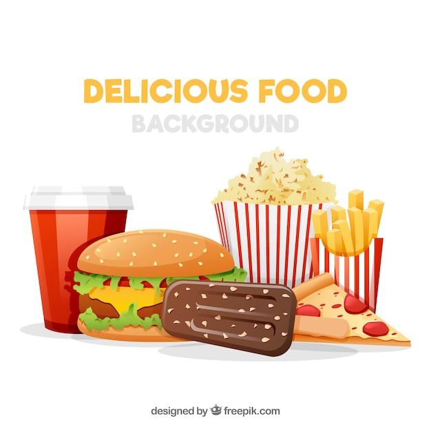 Sfondo con fast food Vettore gratuito