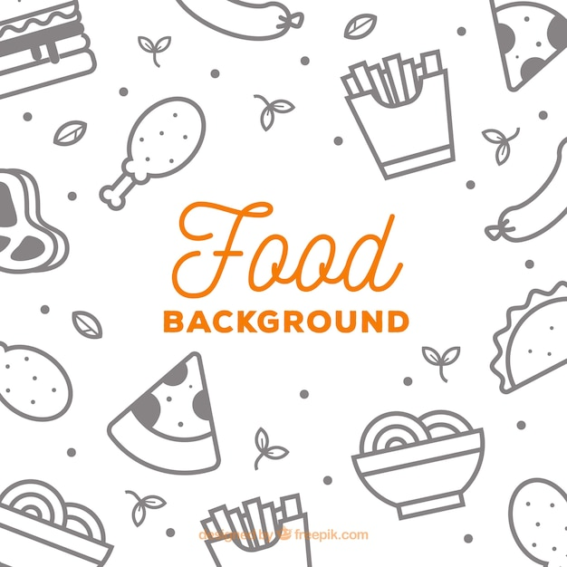 Background with fast food Free Vector