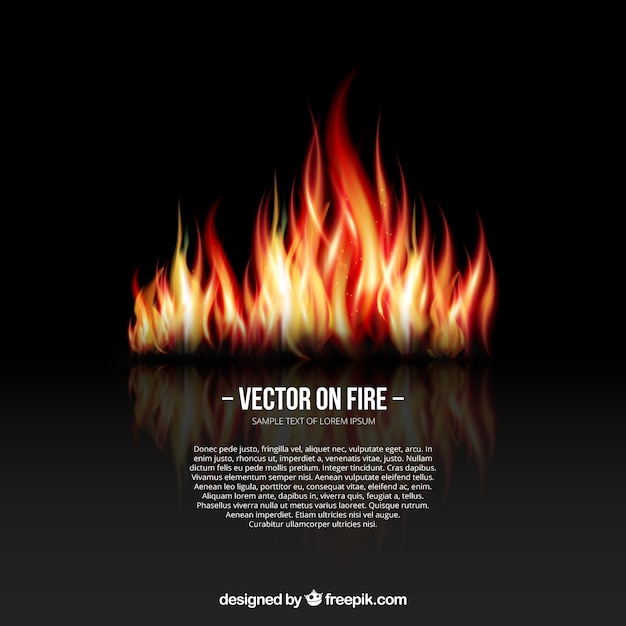 Background with fire flames Free Vector