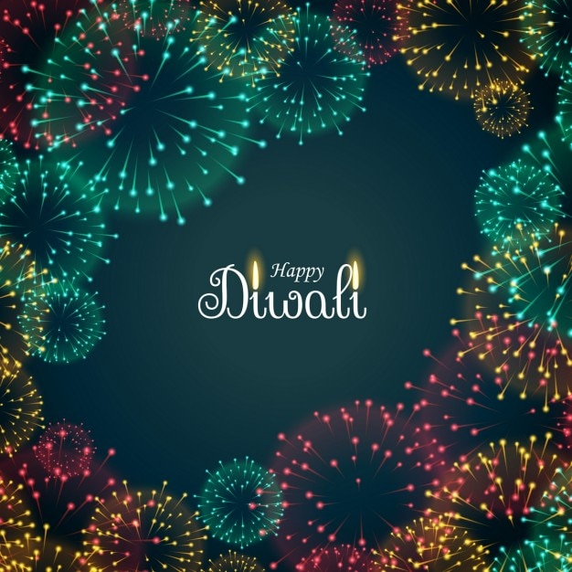 Background with fireworks for diwali Free Vector
