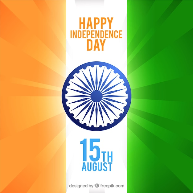 Background with flat design celebrating independence day of india