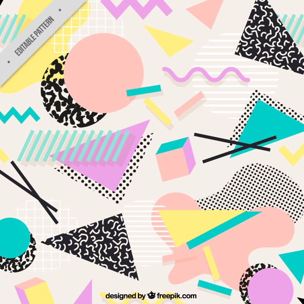 Background with flat geometric shapes Premium Vector