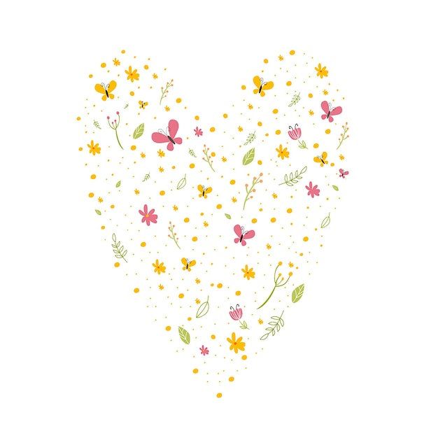 Background With Flowers And Butterflies In A Heart Shape