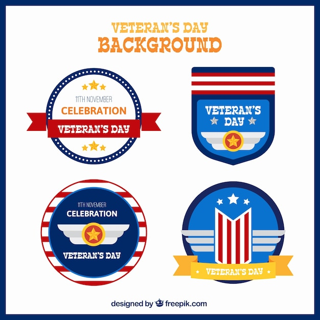 Background with four badges for veterans\ day
