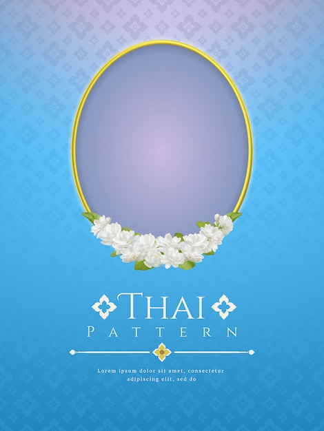 Background with frame and beautiful jasmine flower. modern line thai traditional design Premium Vector