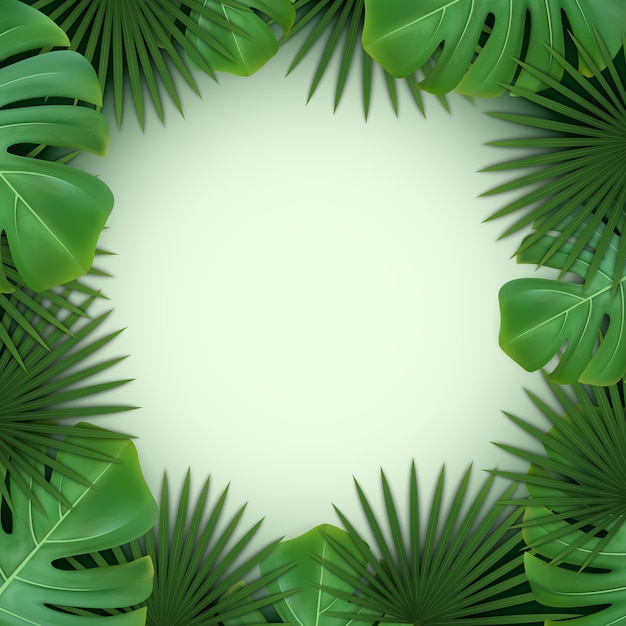 Background with frame of green tropical leaves of palm and monstera. Premium Vector