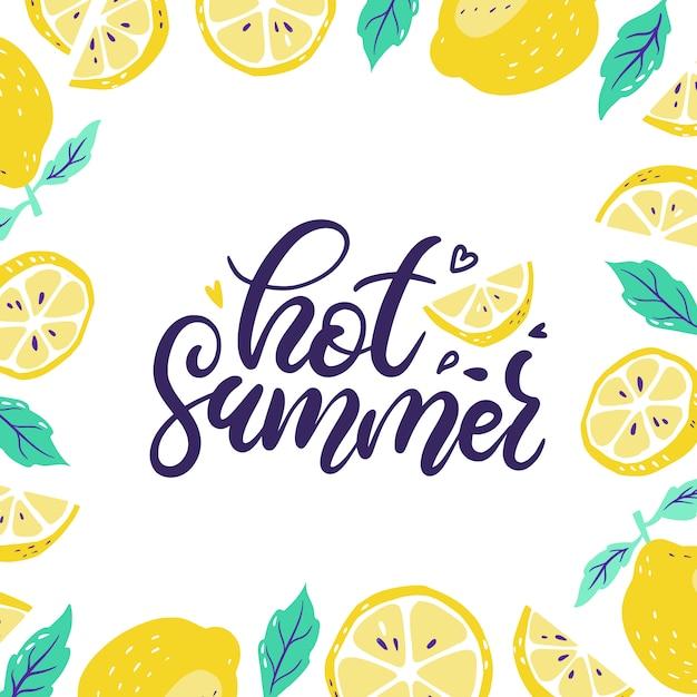 Background with fresh lemons and sliced lemon Premium Vector