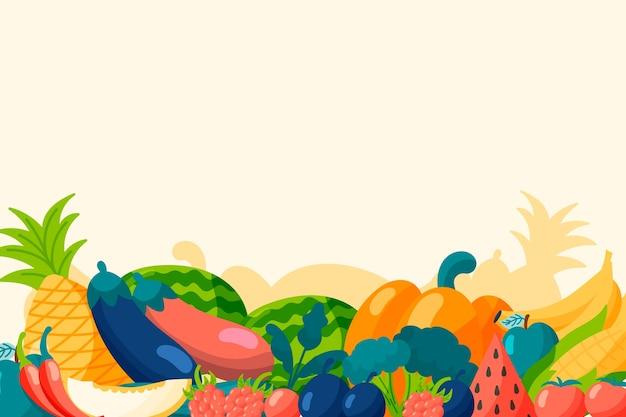 Фон с фруктами и овощами Бесплатные векторы