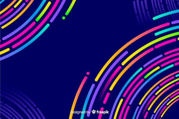 Background with geometric shapes and neon style Free Vector