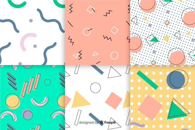 Background with geometrical memphis collection Free Vector
