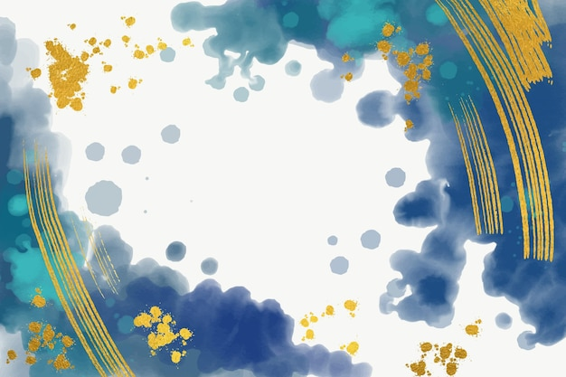 Background with golden foil in watercolor Free Vector