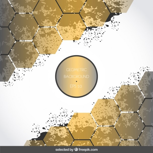 Background with golden hexagons and stains Free Vector