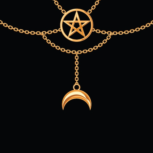 Background with golden metallic necklace. pentagram pendant and chains. on black. Premium Vector