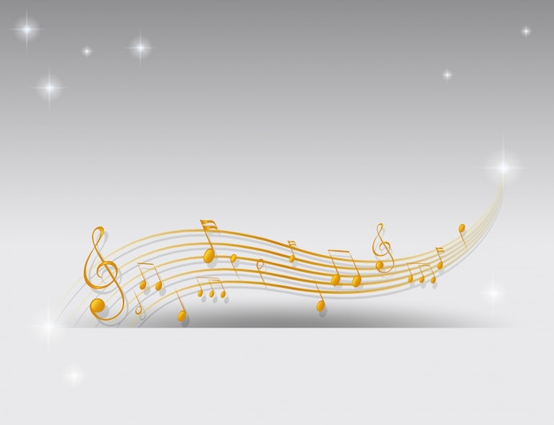 Background with golden musical notes Free Vector