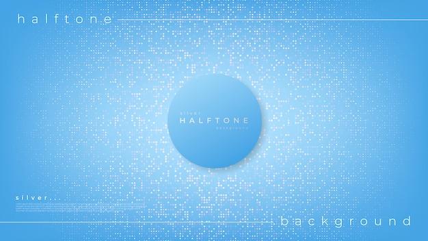 グラデーションハーフトーンデザインの背景白いドットと中心円 Premiumベクター