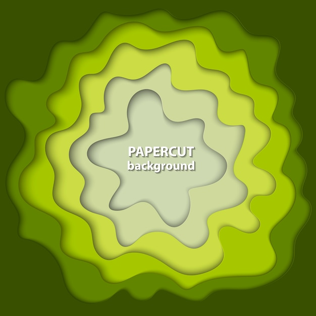 Background with green and beige paper cut Premium Vector