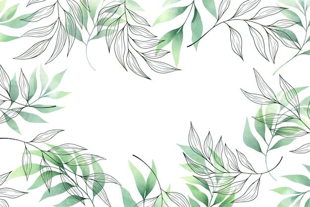 Sfondo con foglie verdi copia spazio Vettore gratuito