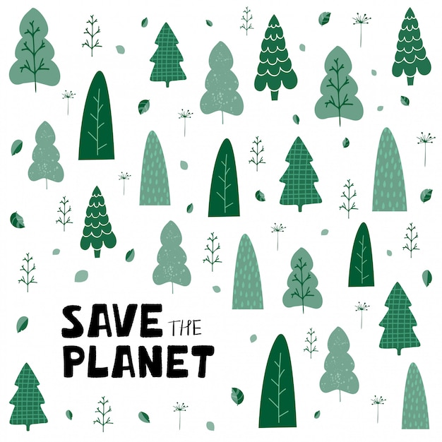 Background with green trees, leaves and hand lettering save the planet in cartoon style Premium Vector