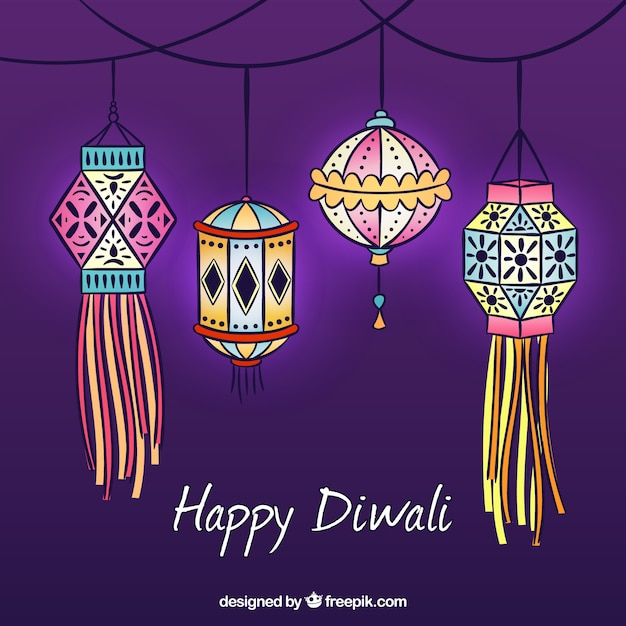 background with hand drawn diwali decorative lanterns vector free