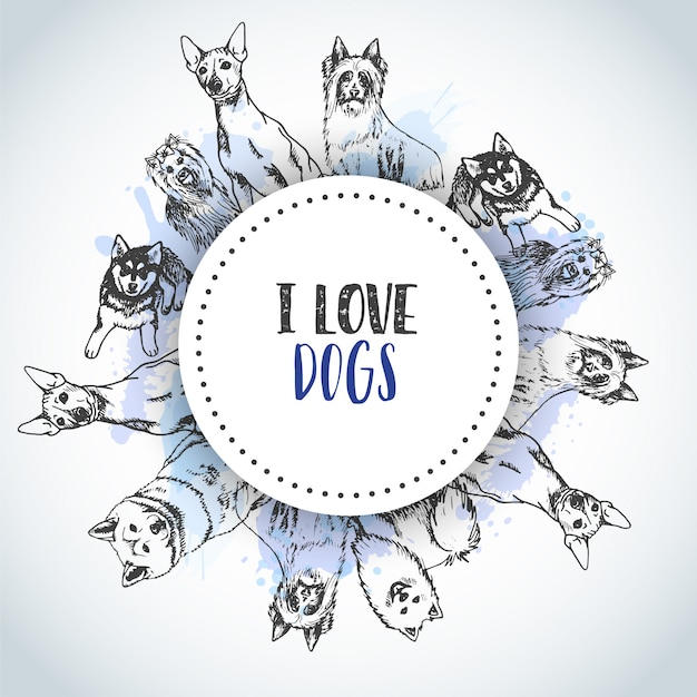 Background with hand drawn dogs breeds. Premium Vector