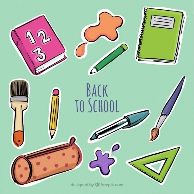 Background with hand-drawn school supplies Free Vector