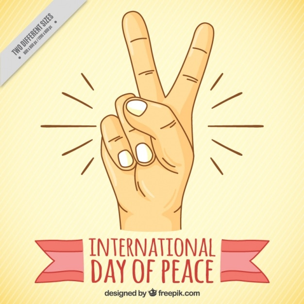 Background With Hand Showing The Peace Symbol Vector Free Download