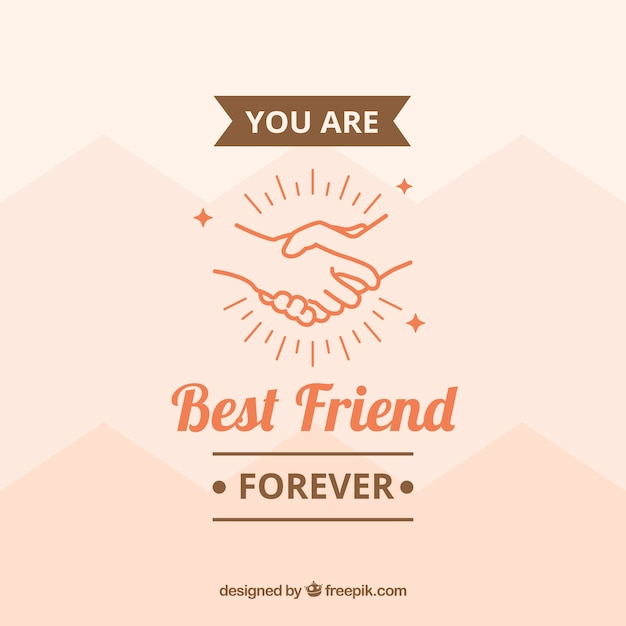 Background with hands and message of friendship Free Vector