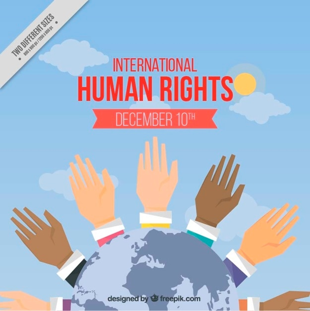 Background with hands raised of the international human rights day Free Vector