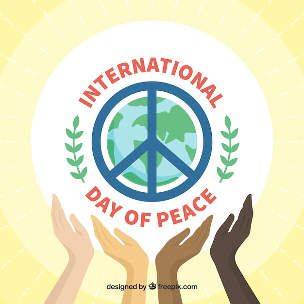 Background with hands and symbol of peace Free Vector