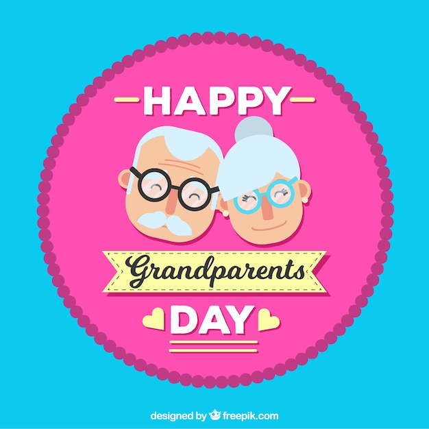 Background with happy grandparents day badge