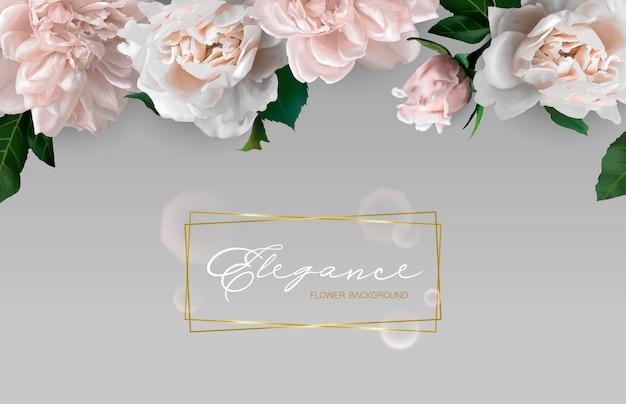Background with horizontal flower border. Premium Vector