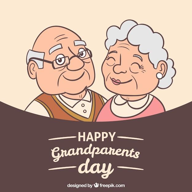 幸せな祖父母のイラストと背景 無料ベクター