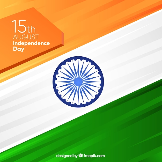 Background with indian flag in flat design