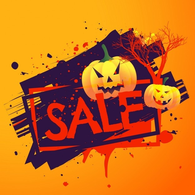 background with ink blots for halloween sales free vector - Halloween Sales